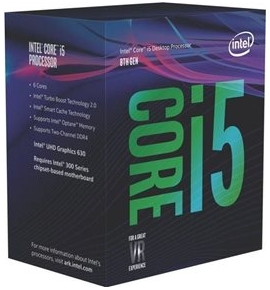 Intel CPU Core i5 8400 (1151/2.80 GHz/9 MB cache memory)